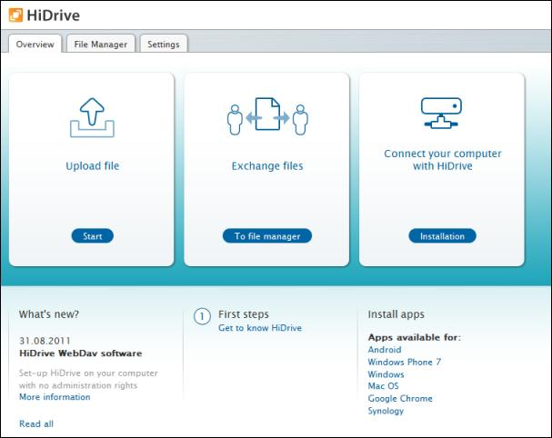 HiDrive Free main interface