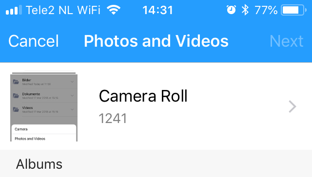 Select Camera Roll in the Amazon Drive iOS app